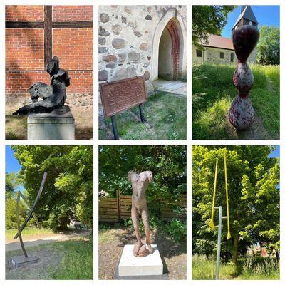 Künstlergespräch im Skulpturengarten an der Dorfkirche Wandlitz