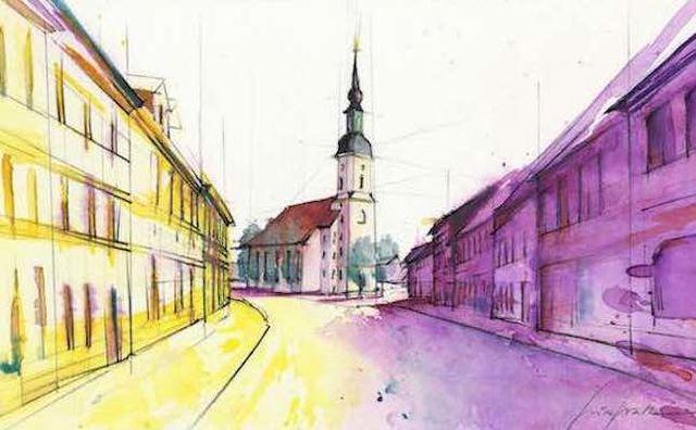 Nikolaikirche Lübbenau, Zeichnung: Gemeinde Lübbenau