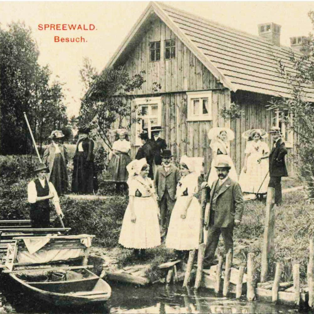 Historische Postkarte_Spreewaldbesuch um 1900 Sammlung Museum OSL